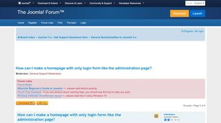 How can I make a homepage with only login form like the ...