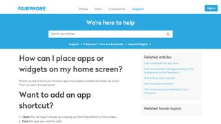 How can I place apps or widgets on my home screen? – Support