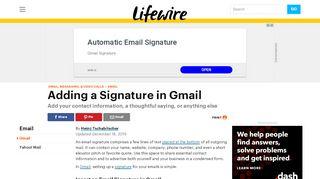 How to Add a Signature in Gmail - Lifewire