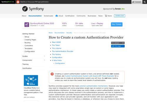 How to Create a custom Authentication Provider (Symfony Docs)