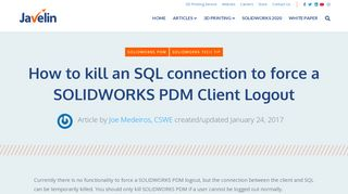 How to kill SOLIDWORKS PDM to force a Client logout