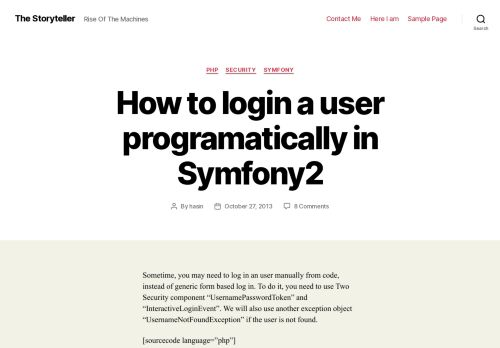 How to login a user programatically in Symfony2 – The Storyteller