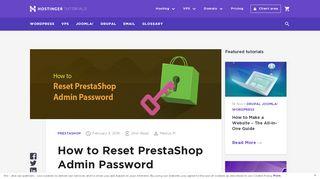 How to Reset PrestaShop Admin Password - Hostinger