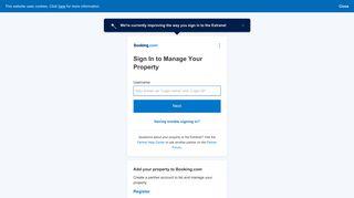 Iniciá sesión para gestionar tu propiedad - Booking.com Extranet
