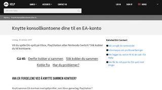 Knytte konsollkontoene dine til en EA-konto - EA Help - Electronic Arts