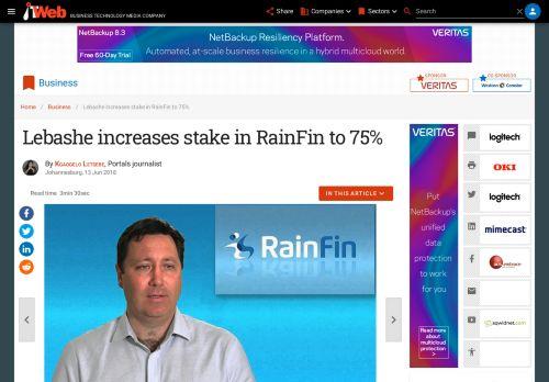 Lebashe increases stake in RainFin to 75%   ITWeb
