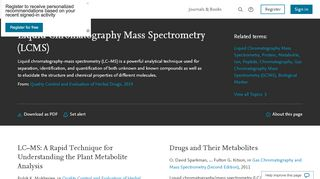 liquid chromatography mass spectrometry (LCMS) - an overview ...