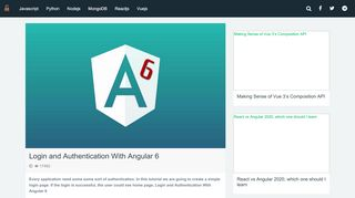 Login and Authentication With Angular 6