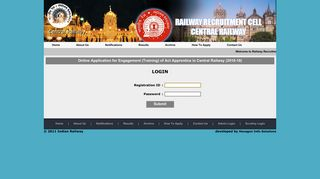 login - Railway Recruitment Cell - Central Railway
