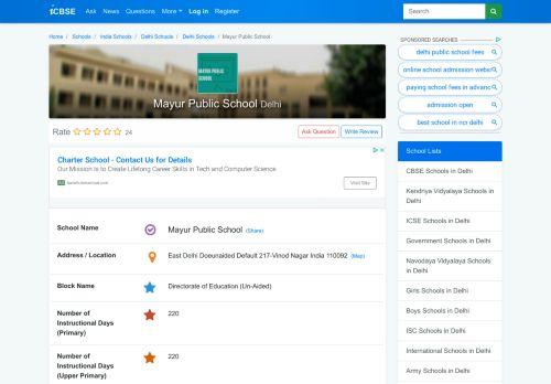 Mayur Public School, 217-Vinod Nagar, East Delhi - Delhi - CBSE
