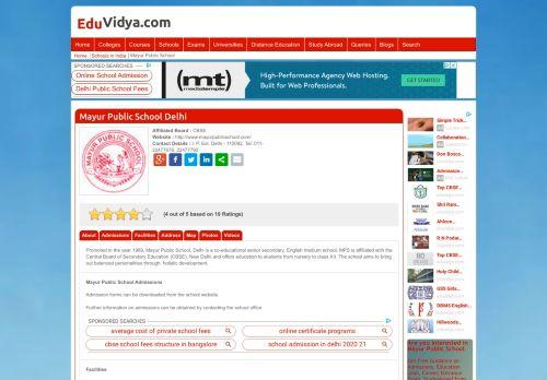 Mayur Public School Delhi Admissions, Address, Fees, Review