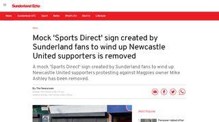 Mock 'Sports Direct' sign created by Sunderland fans to wind up ...