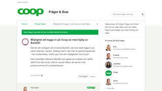 Möjlighet att logga in på Coop.se med hjälp av BankID! - Övrig fråga ...