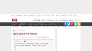 nefunguje warforum - poradna Živě.cz - Zive.cz