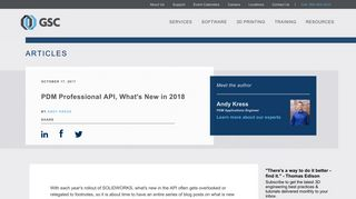 PDM Professional API, What's New in 2018 By Andy Kress | GSC Articles