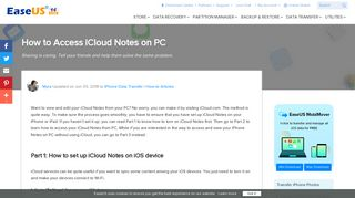 Quick and Easy Ways to Access iCloud Notes on PC - EaseUS