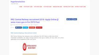 RRC Central Railway recruitment 2018- Apply Online @ www.rrcecr ...