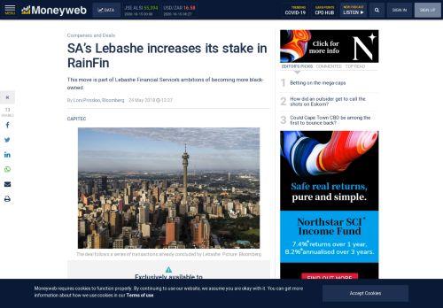 SA's Lebashe increases its stake in RainFin - Moneyweb