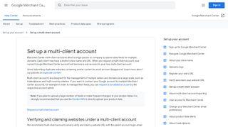 Set up a multi-client account - Google Merchant Center Help