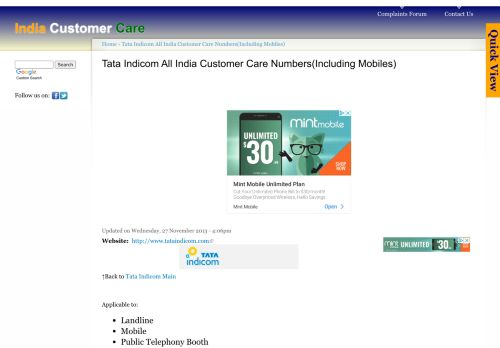 Tata Indicom All India Customer Care Numbers(Including Mobiles ...
