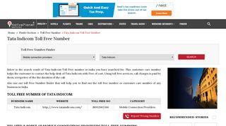 Tata Indicom Toll Free Number India | Customer Care Number ...