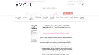Termini d'uso della pagina web della Presentatrice - Avon