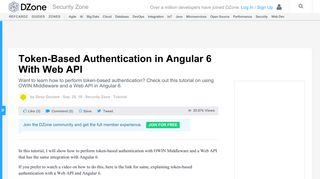 Token-Based Authentication in Angular 6 With Web API - DZone Security