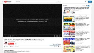 UIDAI-AADHAAR CARD BIG UPDATES NEWS-eaadhaar ... - YouTube