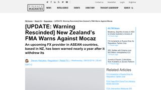 [UPDATE: Warning Rescinded] New Zealand's FMA Warns ...
