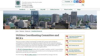 Utilities Coordinating Committee and MCA's - City of London
