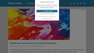 WordPress Loginformular im Customizer gestalten - Theme Coder