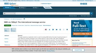 SMS via 160by2: The international message service - IEEE ...