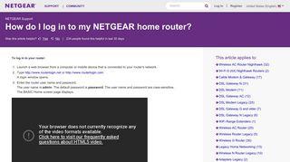 How do I log in to my NETGEAR wireless router? | Answer | NETGEAR ...