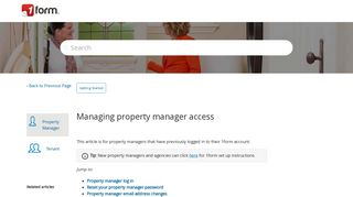 Managing property manager access – 1form Help Centre