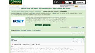 problems with 1xbet account ----- HELP ME PLS - GPWA.com