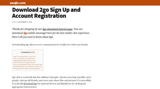 Download 2go: Full Account Registration and Sign Up - Awajis