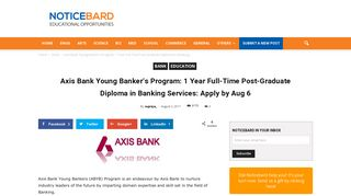 Axis Bank Young Banker's Program: 1 Year Full-Time Post-Graduate ...