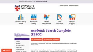 Academic Search Complete (EBSCO) | The Online Library
