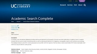 Academic Search Complete | UCSB Library