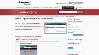 How to Log into the OpenCart 1.5 Dashboard   InMotion Hosting