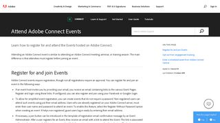 Register and join Connect Events - Adobe Help Center