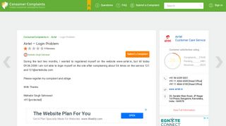 Airtel — Login Problem - Indian Consumer Complaints Forum