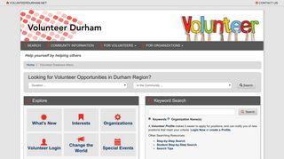 Volunteer Database Menu - Information Durham