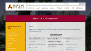 Faculty & Staff Tech Links - Alverno College   Alverno College