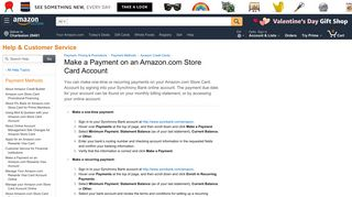 Amazon.com Help: Make a Payment on an Amazon.com Store Card ...