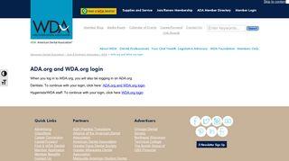 ADA.org and WDA.org login - Wisconsin Dental Association - Oral ...