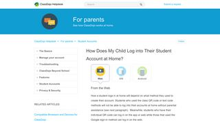 How does my child log into their student account at home ...