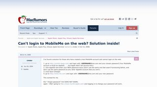 Can't login to MobileMe on the web? Solution inside! | MacRumors ...