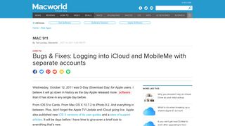 Bugs & Fixes: Logging into iCloud and MobileMe with separate ...