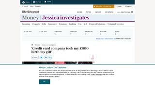 'Credit card company took my £600 birthday gift' - The Telegraph